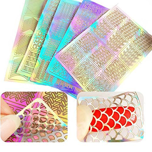 TOPBeauty 60 Pieces Nail Vinyls Stencil Stickers Set, 5 Sheets 72 Different Designs Cute Easy Nail Art Nail Vinyls Nail Stencil Sheets