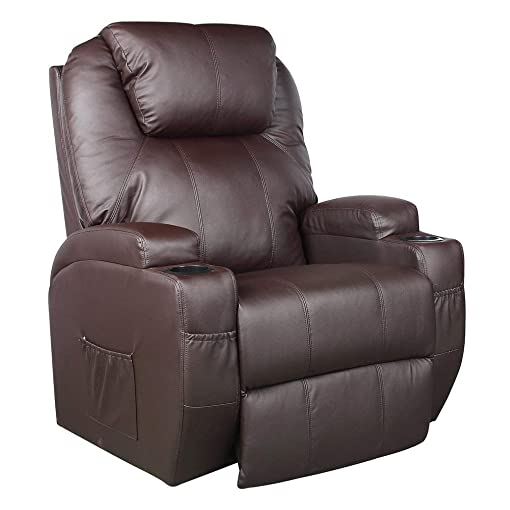 Massage Chair, Electric Leather Recliner Lift Sofa Home Lounge Chair with Comfortable Armchair, Remote Controller and Power Cord Brown