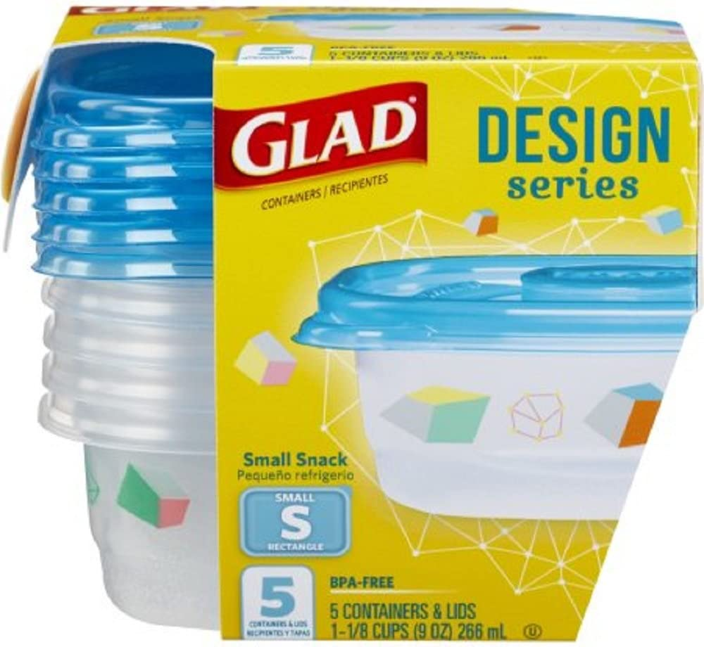 GladWare Design Series Food Storage Containers, Small Snack Containers Hold 9 Ounces of Food, 5 Count Set