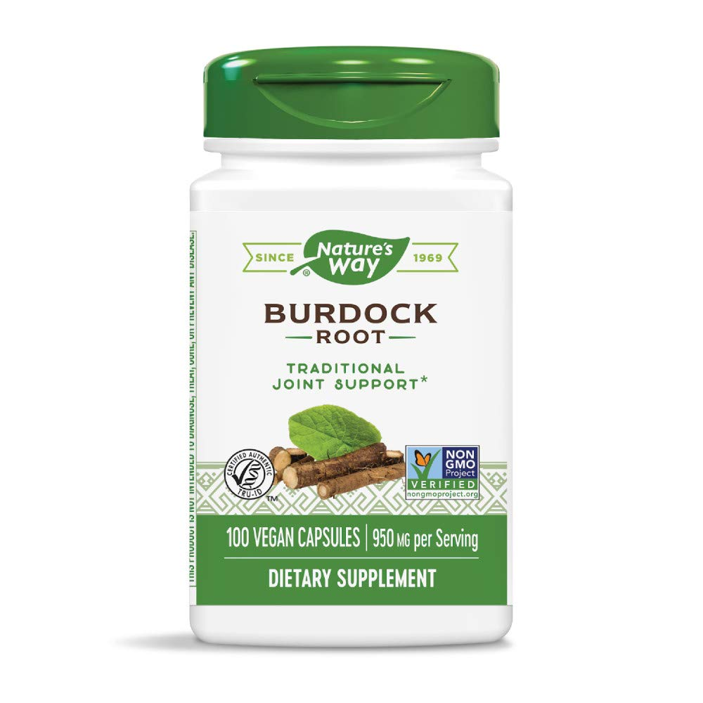 Nature s Way Burdock Root 475 Milligrams per Capsules, 100 Vegetarian Capsules. Pack of 3 bottles.
