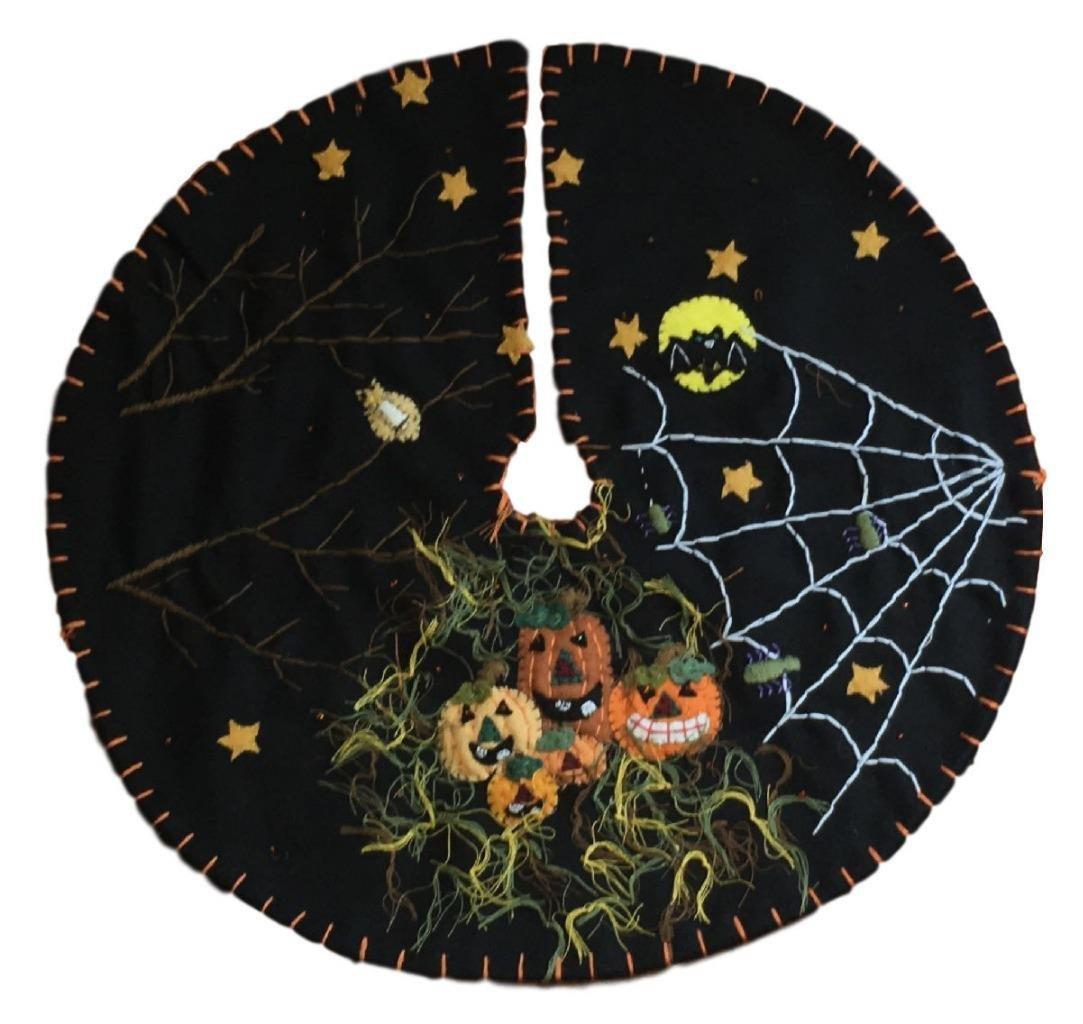 Handmade 11'' Felt Applique Bat Jack-O Halloween Tree Skirt Small Tabletop Size