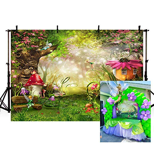 MEHOFOTO Enchanted Forest Photo Background Fairy Tale Magic Big Tree Mushroom Princess Girl Birthday Party Decorations Banner Backdrops for Photography 7x5ft -