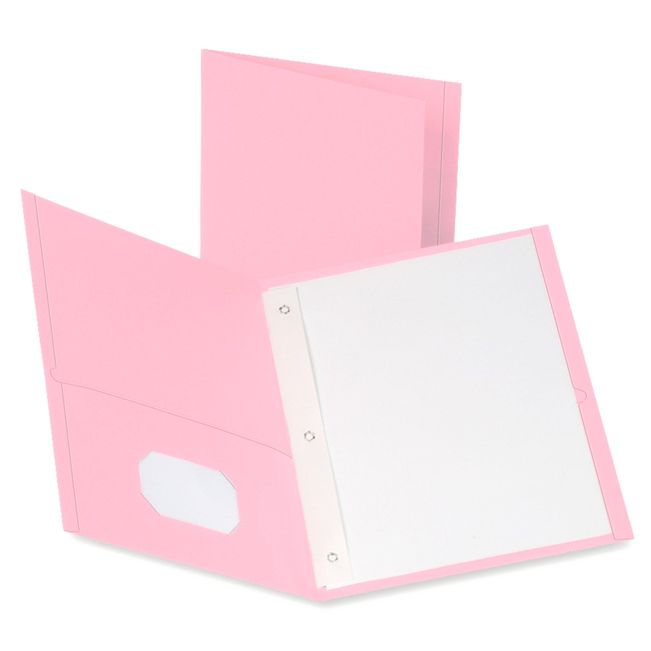 Oxford 57768 Twin-Pocket Portfolio w/Tang Fastener- Letter- 1/2 Cap.- Pink- 25/Box Esselte Pendaflex Corp. ESS57768