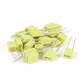 20 Pcs 63V 0.47uF 470NF Radial Lead Box Type Film Correction Capacitors Yellow