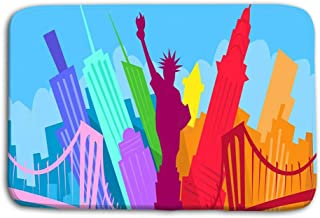 Yugfhj Doormat Indoor Outdoor New York Abstract Skyline City Skyscraper Silhouette Flat Colorful Vector Illustration Mat