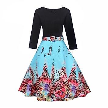 Vestido de mujer vintage Rrom – Saihui para mujer Retro 1950s 60 leopardo estampado 3/