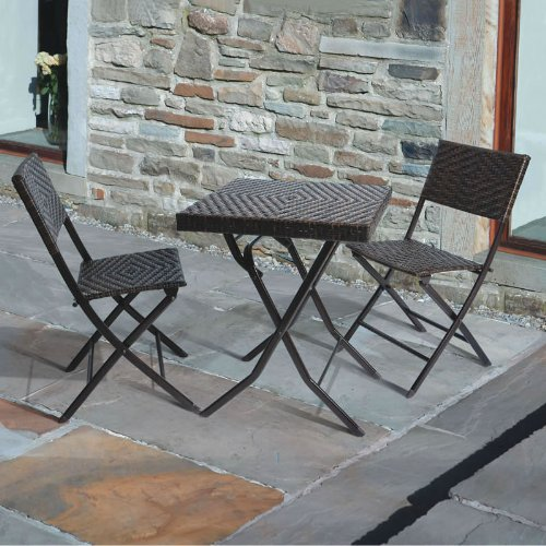 Gina's 3 Piece Rattan Bistro Set Table and 2 Folding Chairs for Garden or Patio