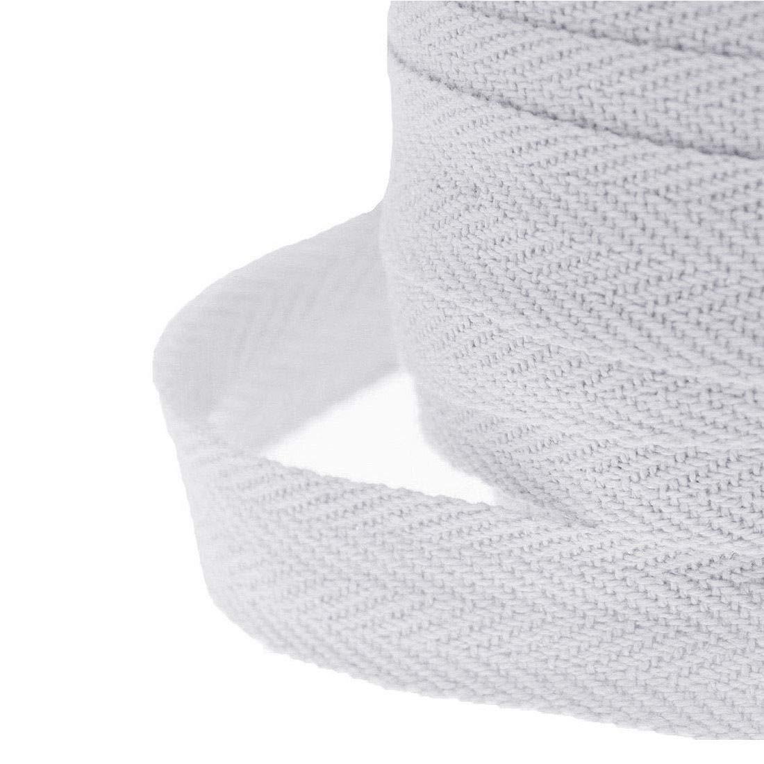 10/20/50M Roll Cotton Bunting Binding Apron Herringbone Twill Webbing Tape Sew -WAREHOUSESHOP (20 Meter (25mm), White)