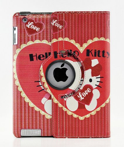 Hello Kitty Design 360 Degree Rotating PU Leather Hard Case for Apple iPad 4 3 2, Mini 2 with Retina and iPad Air (iPad Air, Color 2)