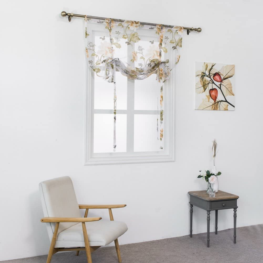 Handfly Sheer Curtain Adjustable Tie Up Shade Rod Pocket Panel for Small Window-Beautiful Floral Pattern 60x120CM //23.62x47.24inch