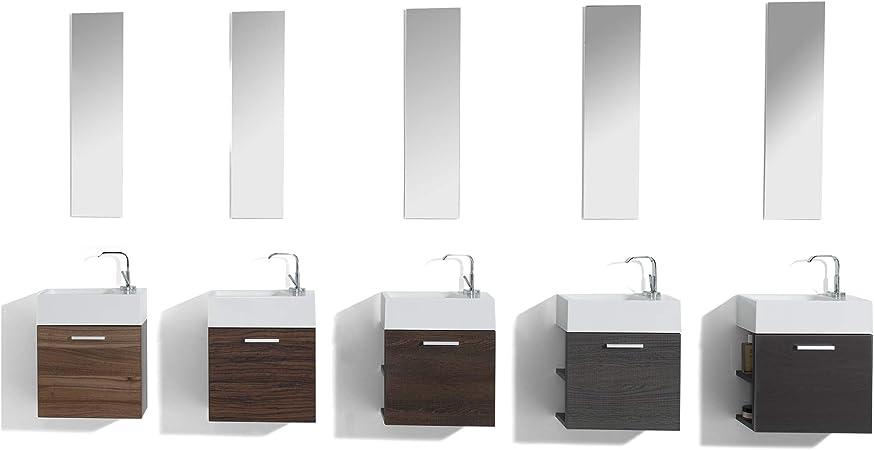 Salle de Bains Set Invités WC invités Salle de Bains Lavabo Sous Armoire Miroir DEL