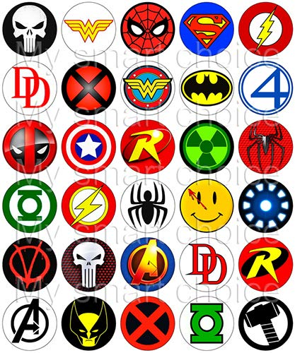 30 x Edible Cupcake Toppers – Superhero Logos Themed Collection of Edible Cake Decorations   Uncut Edible Prints on Wafer Sheet for $<!--$9.20-->