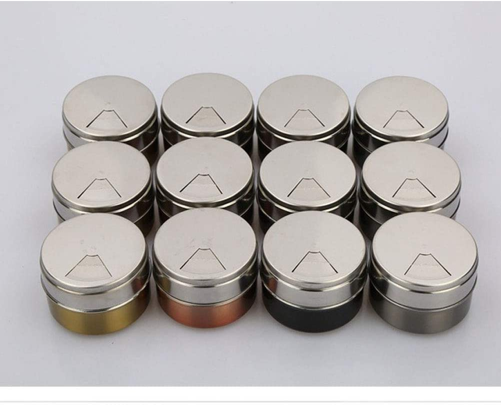 12 Pcs Stainless Steel Magnetic Spice Jars Outdoor Camping Condiment Containers Seasoning Holders Grey