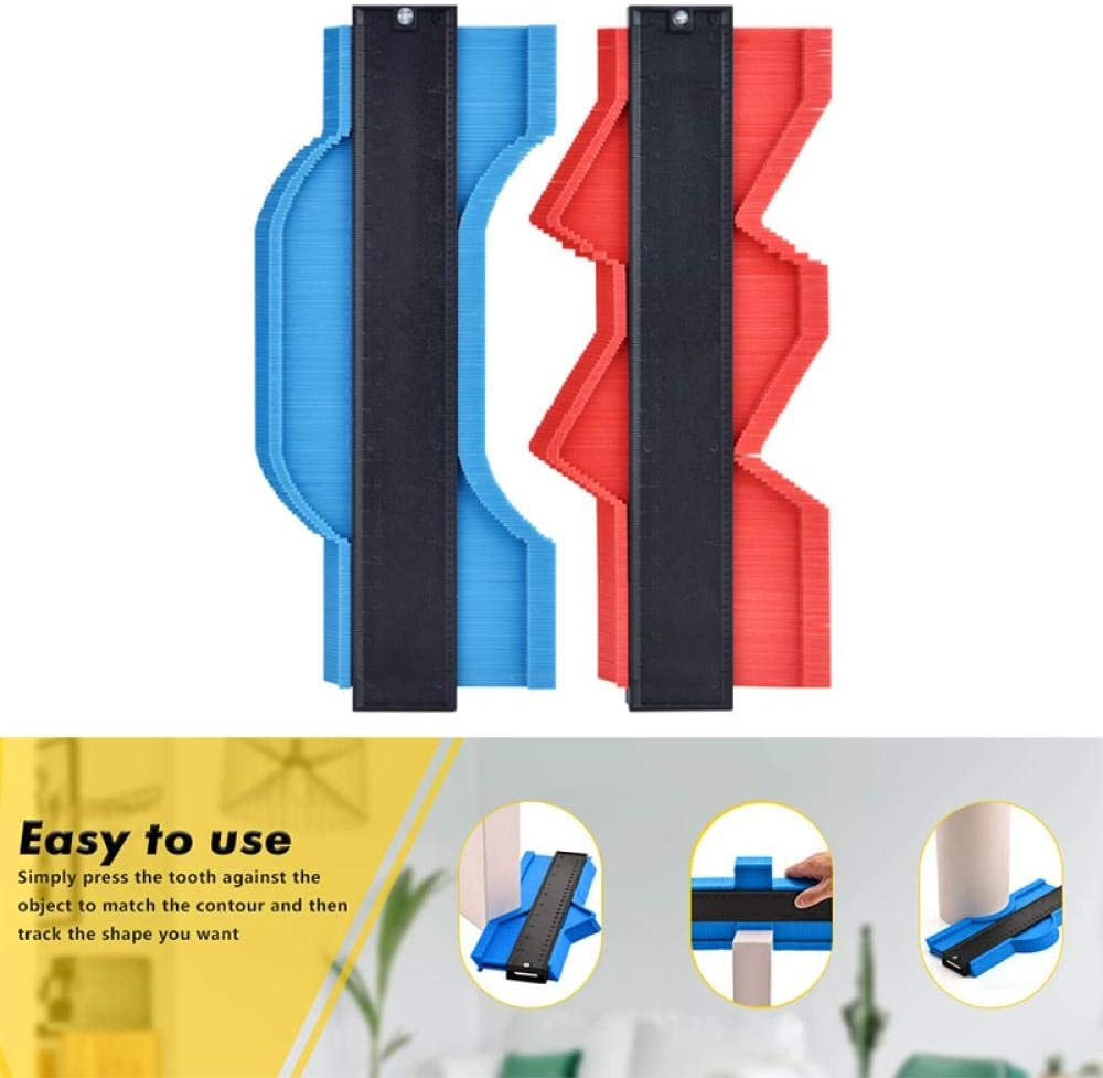 SHYSBV 5/10/15/20 Inch Contour Gauge Profile Copy Gauge Edge Shaping Measure Ruler Template Tiling Laminate Tiles Marking Tool-15 Inch Blue Color 20 Inch Red Color