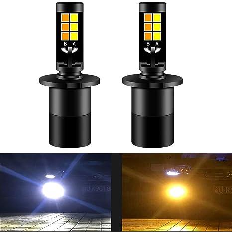 Diesel AutoZone H3 Led Bombillas de Luz de Niebla 35W 3800LM 6000K Luz Blanca/3000K