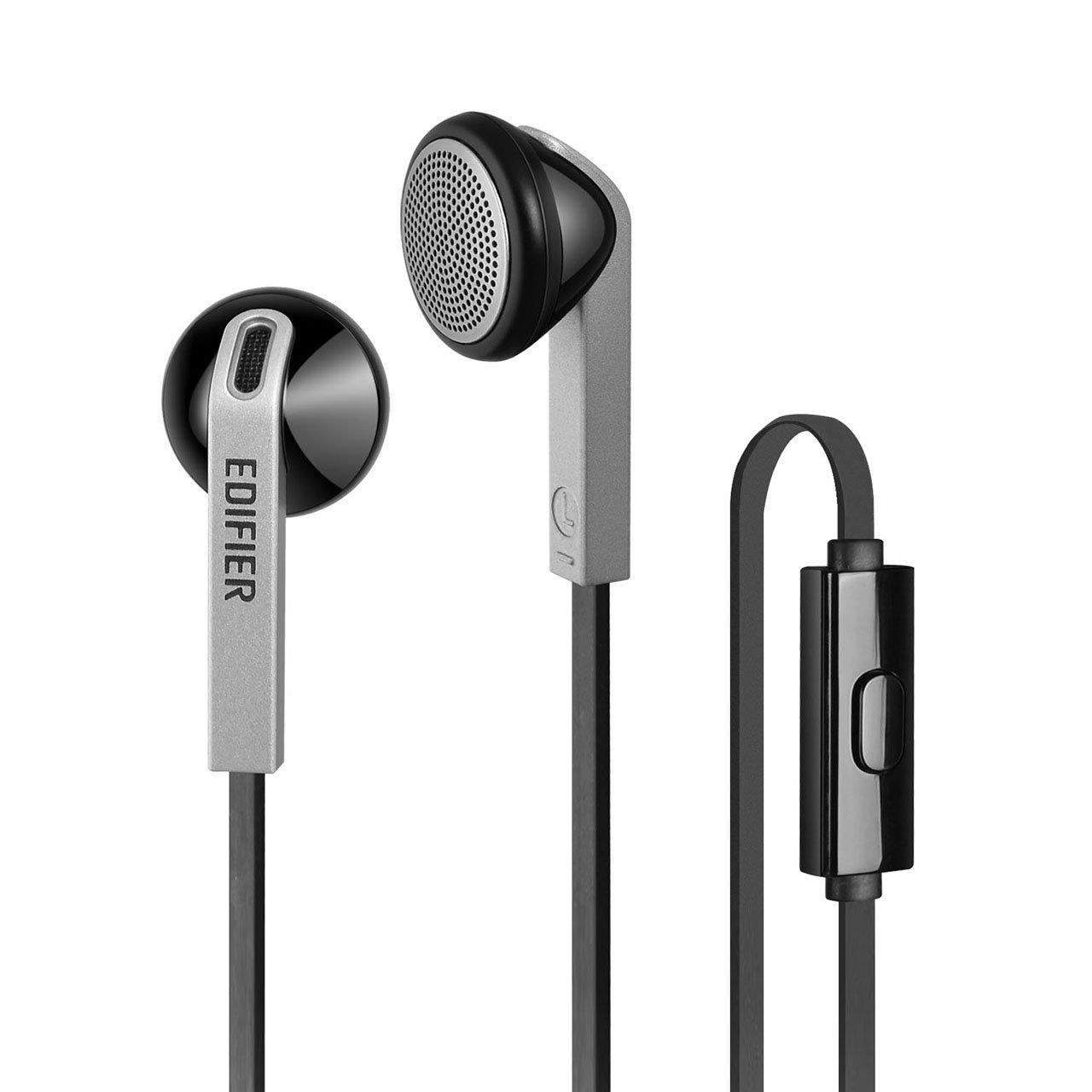 Edifier P190 Premium Earbuds Headset - Hi-Fi Classic Earbud Style Headphones - Comfortable Fit Earphones With Microphone - Black