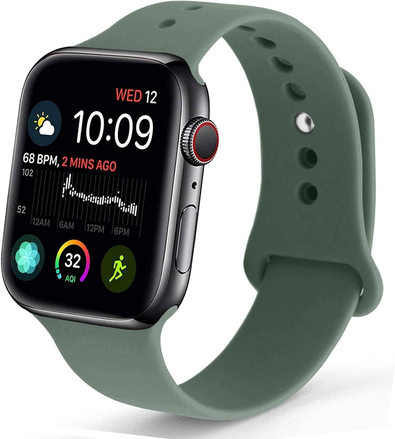 NUKELOLO Sport Band Compatible with Apple Watch 38MM 40MM 42MM 44MM,Soft Silicone Replacement Strap Compatible for Apple Watch Series 5/4/3/2/1