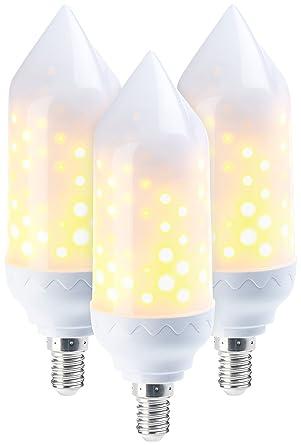 Luminea Deko-LED-Lampe: 3er-Set LED-Flammen-Lampen, realistisches ...