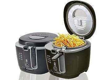 DMS® freidora 2,5 litros fritura fritöse grasa cesta doble filtro 1800 W Negro: Amazon.es: Hogar