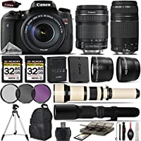Canon EOS Rebel T6s DSLR Camera + Canon 18-135mm STM Lens + Canon 75-300mm III Lens + 650-1300mm Zoom Lens + 500mm Telephoto Lens + 0.43X Wide Angle Lens + 2.2x Telephoto Lens - International Version