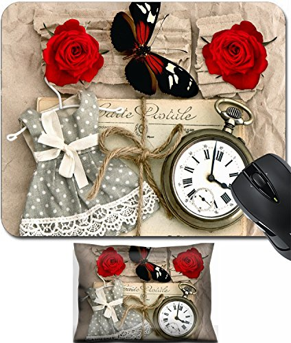 MSD Mouse Wrist Rest and Small Mousepad Set, 2pc Wrist Support design 29663850 old love post cards and vintage clock red rose flower valentine heart and butterfly nostalgic romantik ()