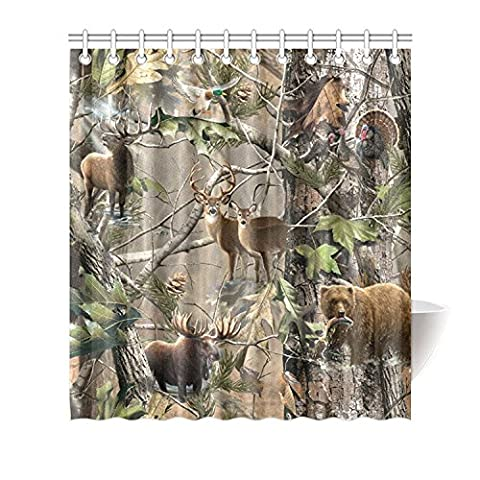 Moslion Bird Bear Deer Elk Realtrees Real Tree Design Shower Curtain Standard Inch Size 66