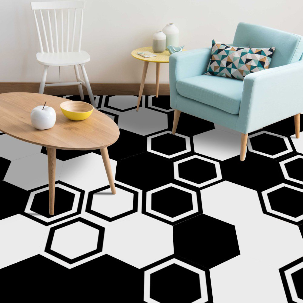 APSOONSELL Black and white Tile Stickers Transfers for Kitchen/Bathroom/Bedroom Floor tile Stickers 10 Pcs/set