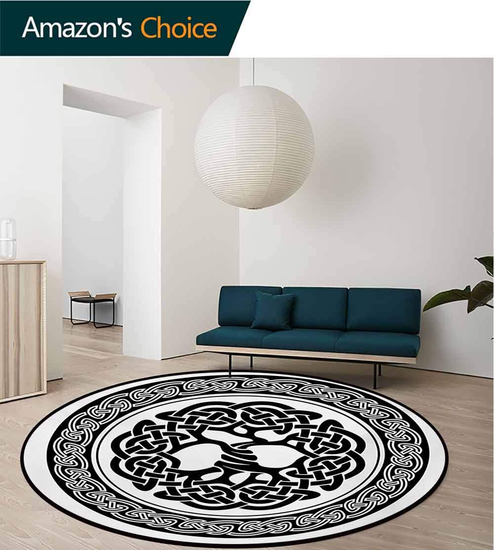 RUGSMAT Celtic Modern Machine Washable Round Bath Mat,Native Celtic Tree of Life Figure Ireland Early Renaissance Artsy Modern Design Non-Slip Soft Floor Mat Home Decor,Round-59 Inch by RUGSMAT (Image #2)