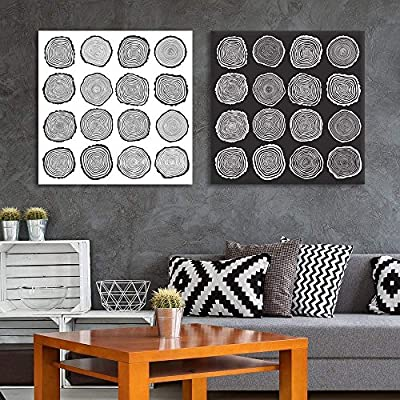 Black and White Abstract Tree Ring (2 Panels) 12