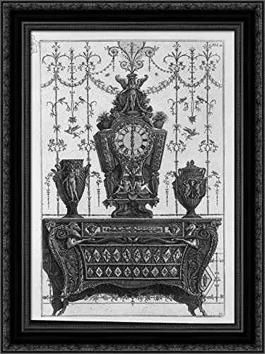Chest of drawers with patterns of diamonds, on a clock and two decorative vases 20x24 Black Ornate Wood Framed Canvas Art by Piranesi, Giovanni Battista