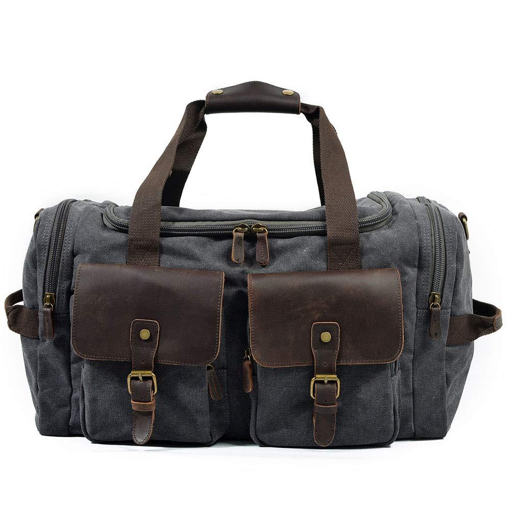 旅行用バッグ 大容量キャンバストラベルバッグメンズハンドバッグカジュアルウェアショルダー対角線バッグ キャビンオンフライト&ホールドオール (色 : グレー) B07PQ583G7 グレー