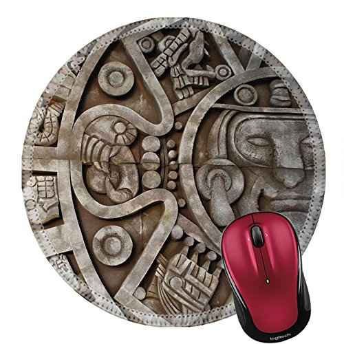 Liili Round Mouse Pad Natural Rubber Mousepad Mayan Calendar Mexican Heritage and Traditions Photo 2622721