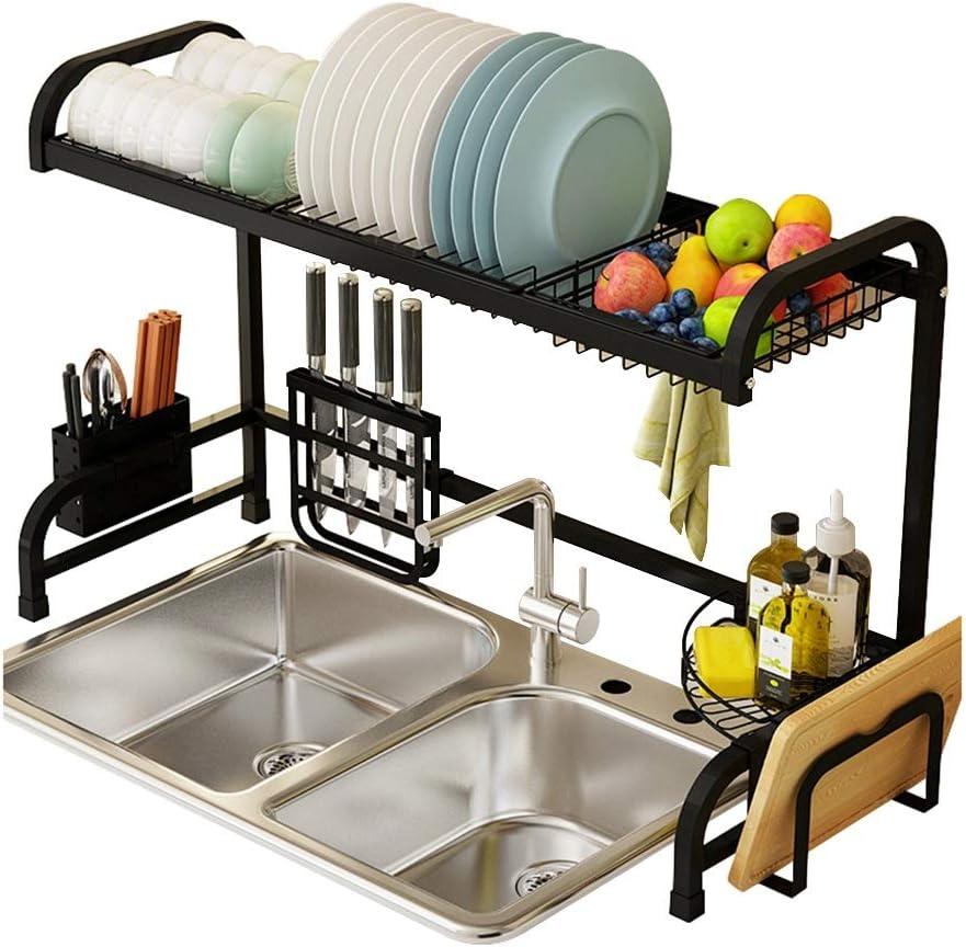 キッチン収納 台所の流しラック|皿排水ラックステンレス鋼食器収納ラック黒米ボウルラック|プレートラック長さ85 cm XJMSB