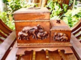 Luxury Eelegant Box of Tissues Wooden Toothpick Resin Elephant Ornament.