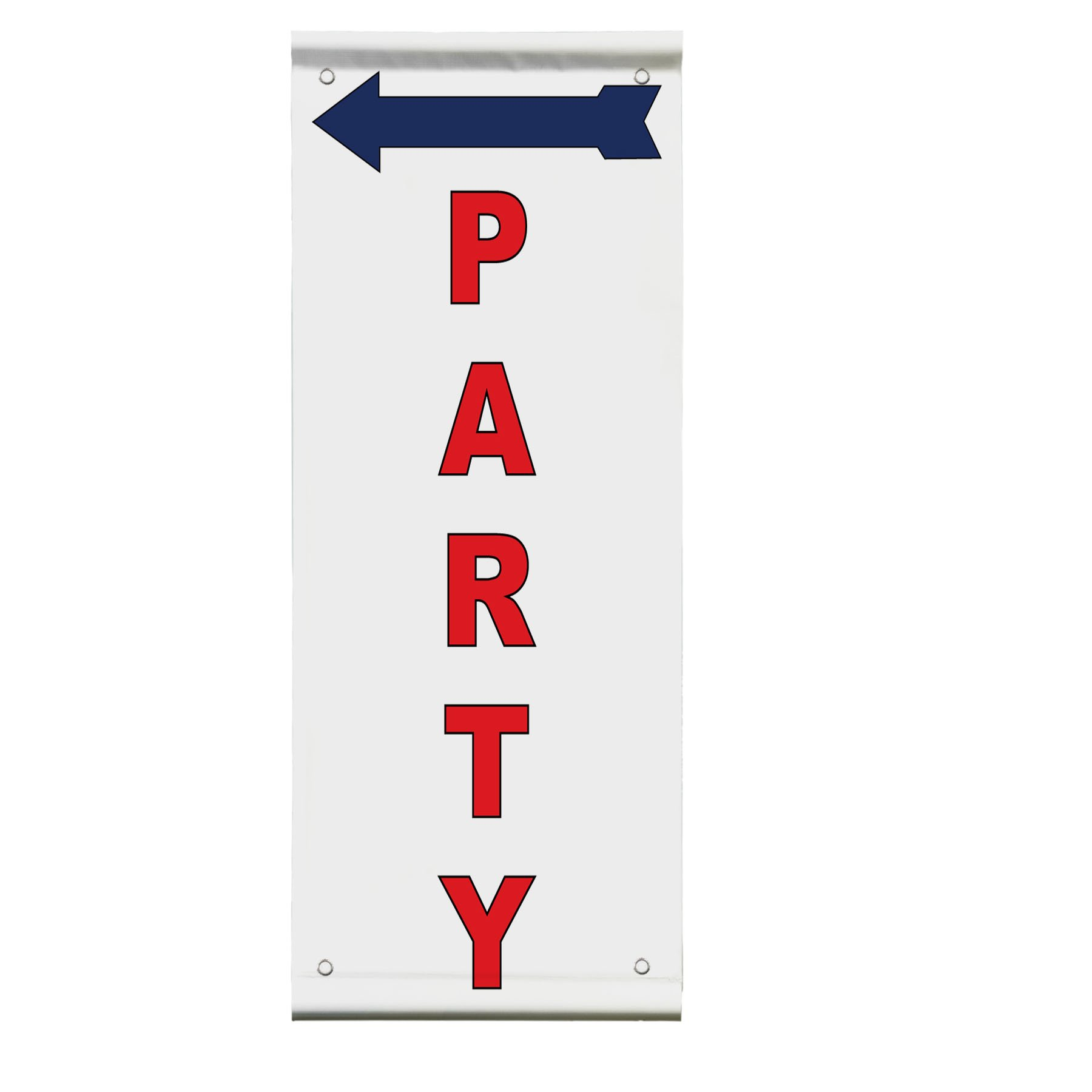 Party Red Arrow Left Double Sided Vertical Pole Banner Sign 36 in x 72 in w/ Wall Bracket