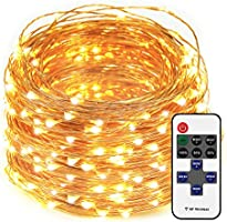 LED String Lights Dimmable with Remote Control, 66ft 200 LEDs Waterproof Christmas Decorative Lights for Bedroom, Balcony, Patio, Garden, Party, Wedding (Copper Wire, Warm White)