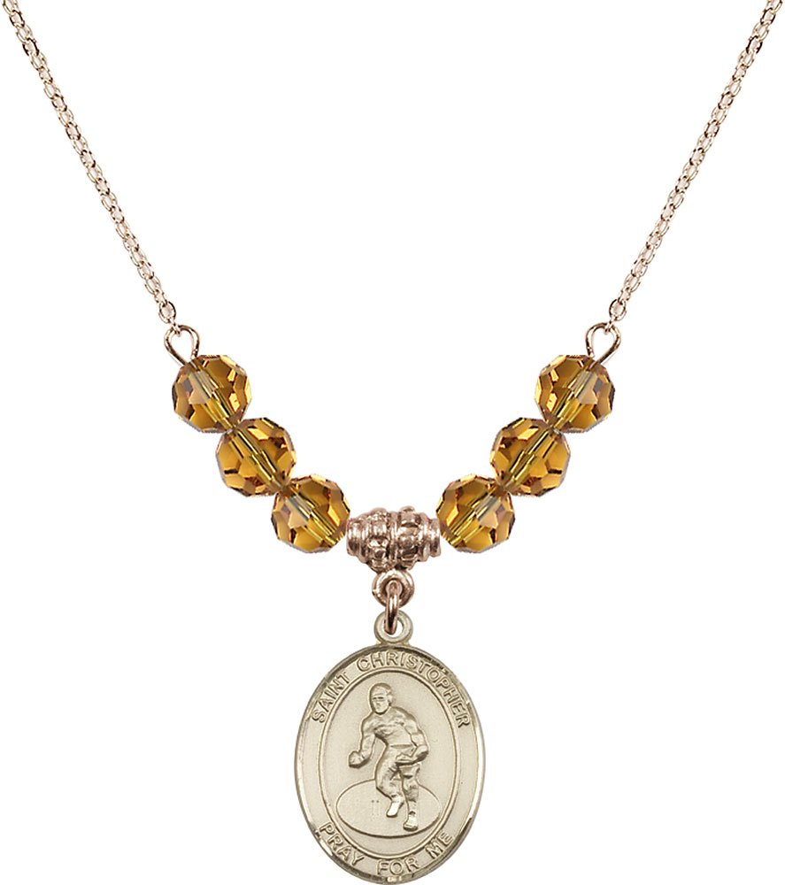 Gold Plated Necklace with 6mm Topaz Birthstone Beads & Saint Christopher/Wrestling Charm. by F A Dumont