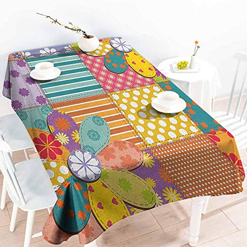 Mixed Stripe Table - familytaste Colorful,Modern Waterproof Table Clothes Various Type of Floral and Geometric Forms Mixed Polka Dots Tartan Stripes Design 52