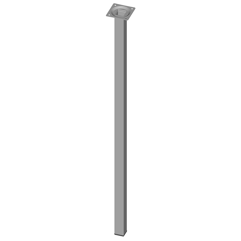 Element System 4 Stü ck Stahlrohrfü ß e eckig Tischbeine,  Mö belfü ß e Inklusive Anschraubplatte,  4 Farben,  10 Abmessungen,  20 cm,  weiß -aluminium, 18133-00294 DIY Element-System GmbH