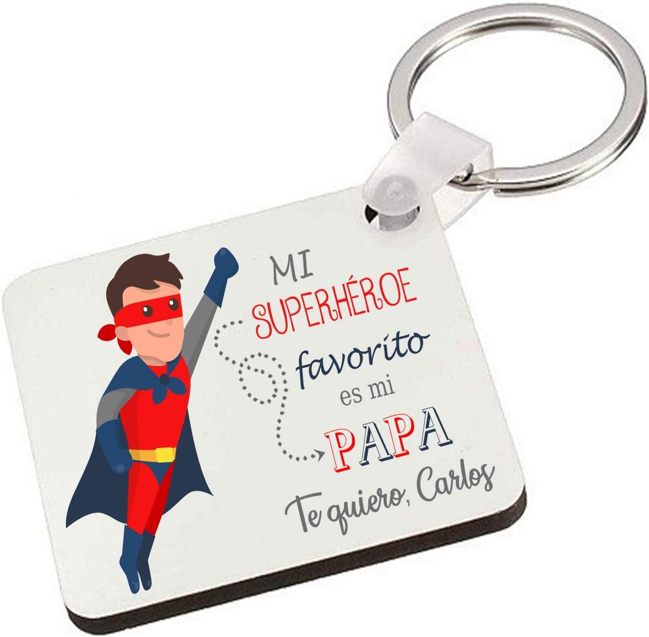 Kembilove Llavero para Padre Personalizado – Llavero Personalizado Cuadrado Mi Superheroe Favorito es mi Papá – Llavero Original para Regalar el día del Padre, Cumpleaños