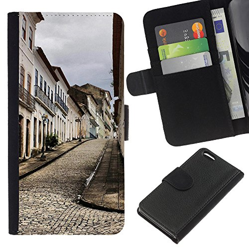 Lead-Star (Architecture Old Europe Town) Colorful Impression Holster Cuir Wallet Cover Housse Peau Cas Case Coque Pour Apple iPhone 5C