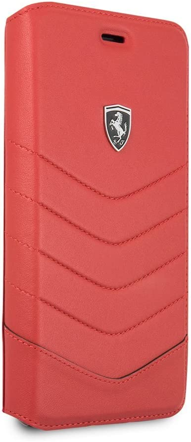 Ferrari Wallet Case for iPhone 7 Plus and for iPhone 8 Plus Genuine Leather Case Quilted with Business Card Holder/Debit or Credit Card Slots Red   Easily Snap-On Drop Protection Officially Licensed.