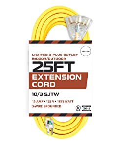 25 Foot Lighted Outdoor Extension Cord with 3 Electrical Power Outlets - 10/3 SJTW Yellow 10 Gauge Extension Cable with 3 Prong Grounded Plug for Safety