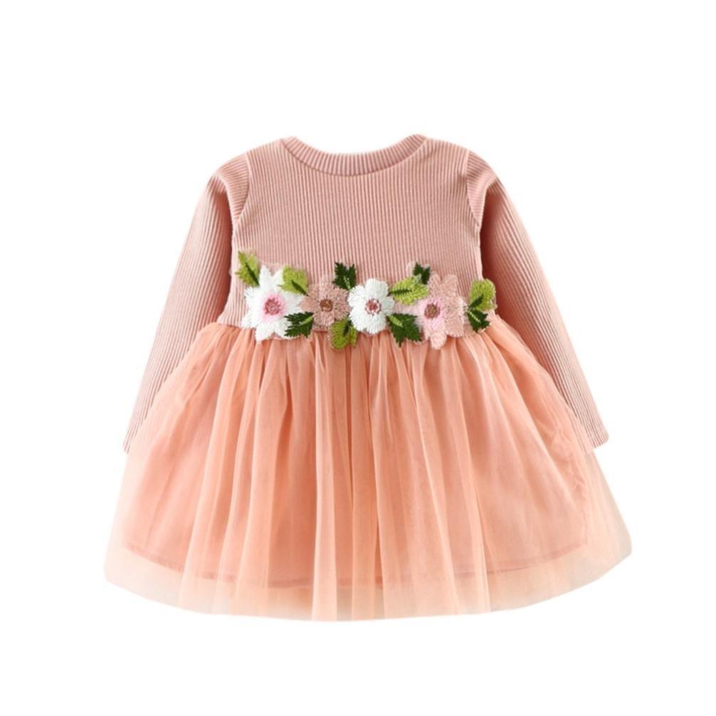 ARAUS Flower Princess Dress Baby Girls Long Sleeve Knit Tulle Tutu Casual Dress Skirt Spring Autumn for 0-36 Months