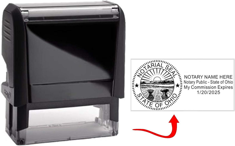 Standard Self Inking Model Ohio Notary Stamp 2.75x1.0 Inch Rectangular Prints
