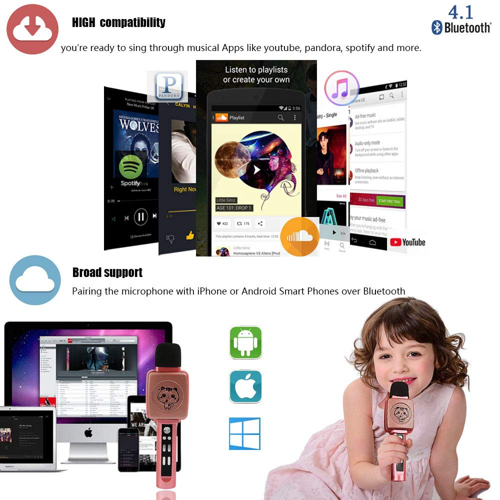 TSUN Kids Karaoke Microphone,Wireless Portable Karaoke Microphone for Kids with Bluetooth Speaker,Voice Changer and Song Recording,Holiday Birthday Gifts for Girl Age 4-18,Best present for Teen Girl by YSUN (Image #7)