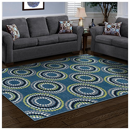 Superior Burgess Collection, 6mm Pile Height with Jute Backing, Quality and Affordable Area Rugs, 5 x 8 Blue
