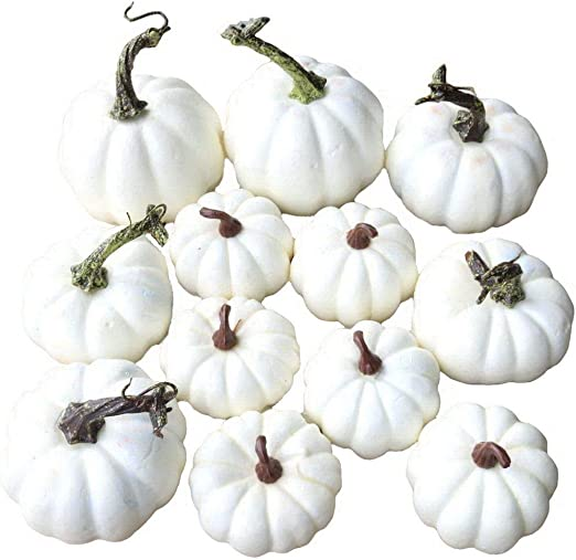 Gresorth 12 Pcs Artificial Pumpkins White Pumpkin Fall Autumn Halloween Christmas Decoration Amazon Co Uk Kitchen Home