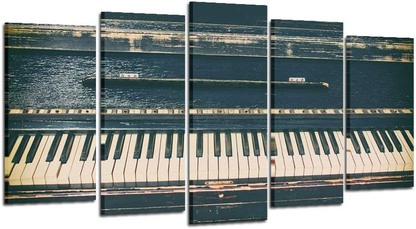 sechars - Large Wall Art 5 Panel Music Theme Wall Decor Vintage Piano Picture Canvas Prints Music Posters Stretched and Framed Ready to Hang Modern Living Room Home Decoration