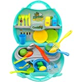 Nuheby Role Play Toys Kitchen Kids Cooking Set 34pcs Kitchen Utensils Accessories, Pretend Play Educational Toys Gift for 3 4 5 Years Old Boys Girls Children with Mini Carry Case